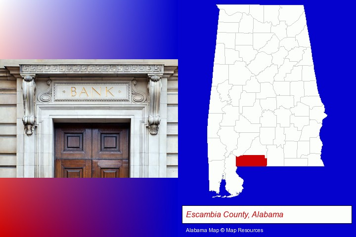 a bank building; Escambia County, Alabama highlighted in red on a map