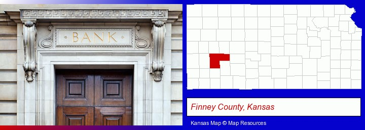 a bank building; Finney County, Kansas highlighted in red on a map