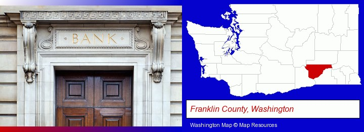 a bank building; Franklin County, Washington highlighted in red on a map