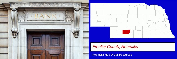 a bank building; Frontier County, Nebraska highlighted in red on a map
