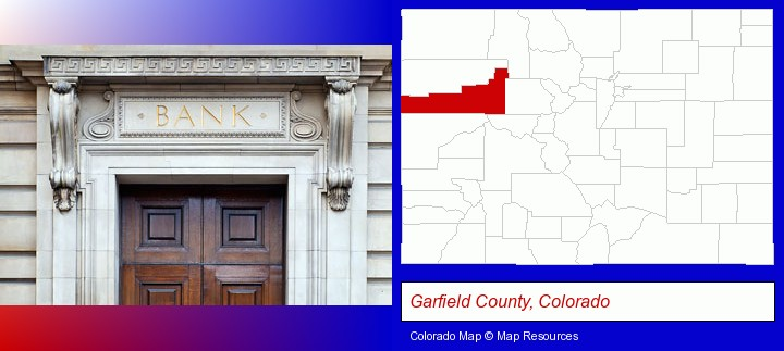 a bank building; Garfield County, Colorado highlighted in red on a map