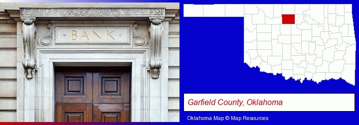 a bank building; Garfield County, Oklahoma highlighted in red on a map
