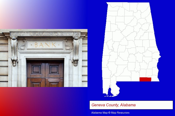 a bank building; Geneva County, Alabama highlighted in red on a map