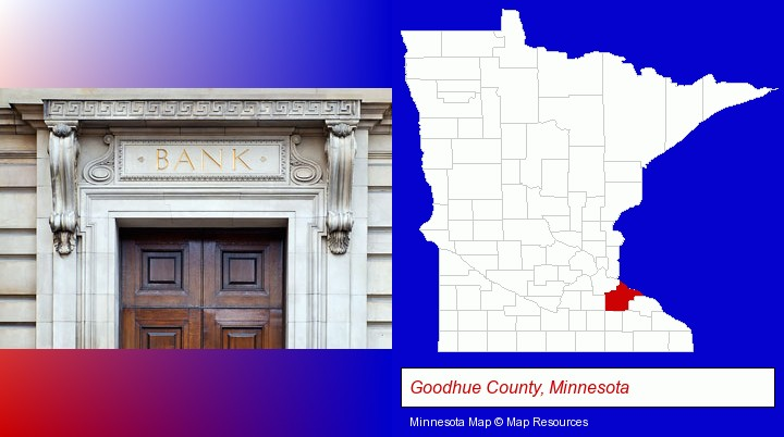 a bank building; Goodhue County, Minnesota highlighted in red on a map