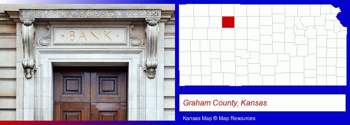 a bank building; Graham County, Kansas highlighted in red on a map