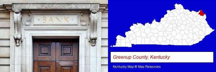a bank building; Greenup County, Kentucky highlighted in red on a map