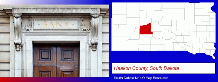 a bank building; Haakon County, South Dakota highlighted in red on a map