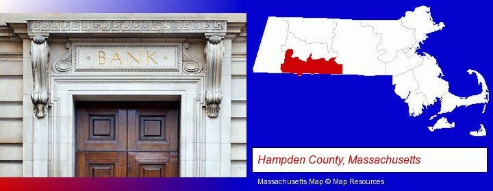a bank building; Hampden County, Massachusetts highlighted in red on a map