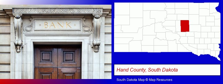 a bank building; Hand County, South Dakota highlighted in red on a map