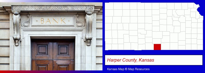 a bank building; Harper County, Kansas highlighted in red on a map
