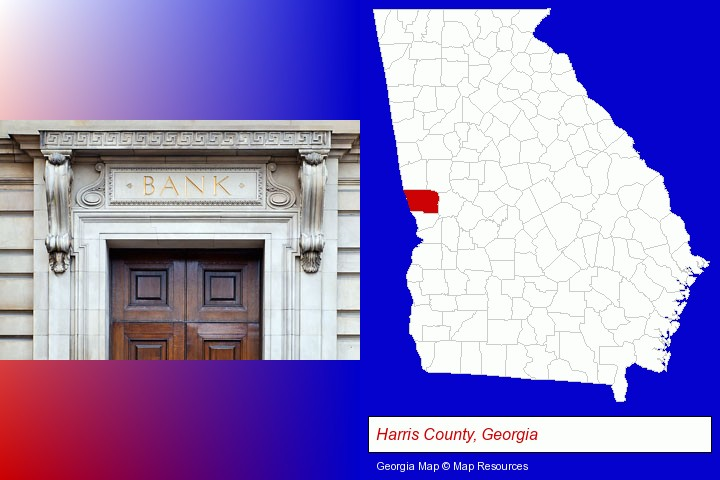 a bank building; Harris County, Georgia highlighted in red on a map