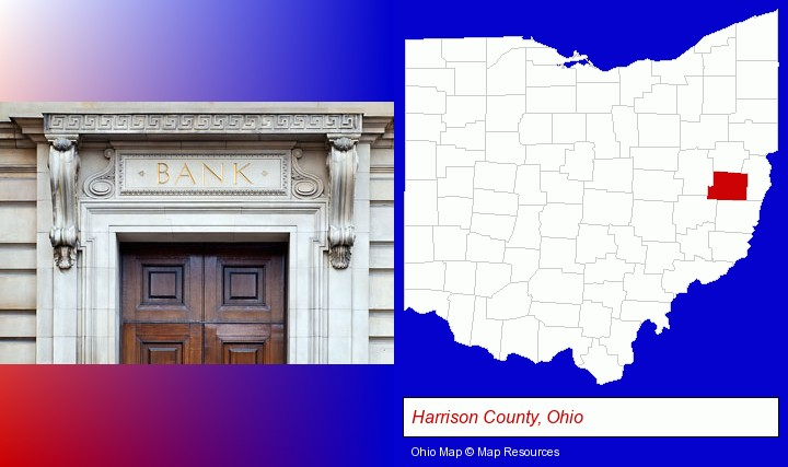 a bank building; Harrison County, Ohio highlighted in red on a map