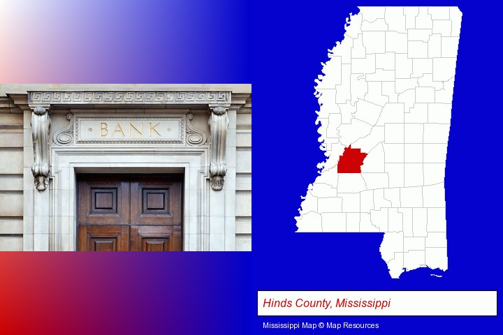 a bank building; Hinds County, Mississippi highlighted in red on a map