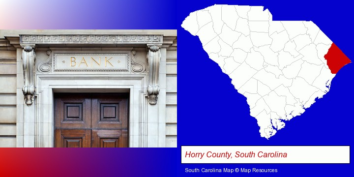 a bank building; Horry County, South Carolina highlighted in red on a map