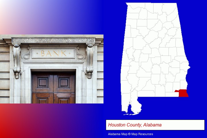 a bank building; Houston County, Alabama highlighted in red on a map