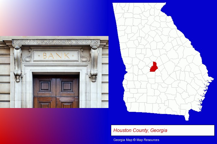a bank building; Houston County, Georgia highlighted in red on a map