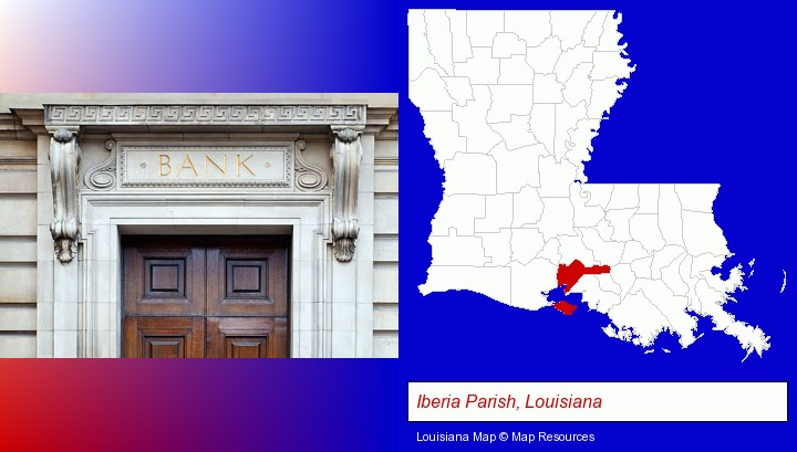 a bank building; Iberia Parish, Louisiana highlighted in red on a map