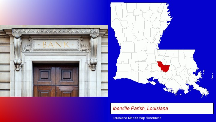 a bank building; Iberville Parish, Louisiana highlighted in red on a map