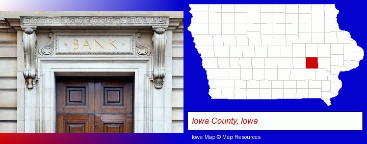 a bank building; Iowa County, Iowa highlighted in red on a map