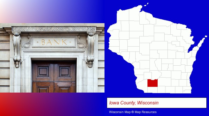 a bank building; Iowa County, Wisconsin highlighted in red on a map