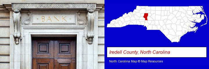 a bank building; Iredell County, North Carolina highlighted in red on a map
