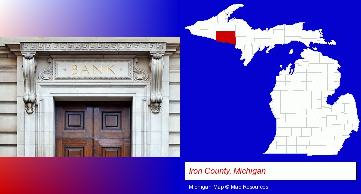 a bank building; Iron County, Michigan highlighted in red on a map