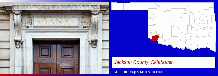 a bank building; Jackson County, Oklahoma highlighted in red on a map