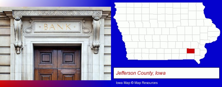a bank building; Jefferson County, Iowa highlighted in red on a map