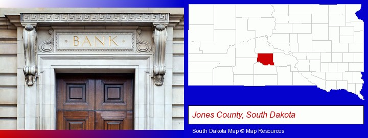 a bank building; Jones County, South Dakota highlighted in red on a map