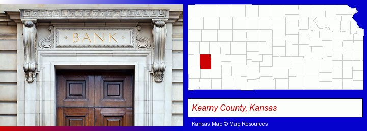a bank building; Kearny County, Kansas highlighted in red on a map