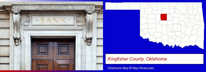 a bank building; Kingfisher County, Oklahoma highlighted in red on a map