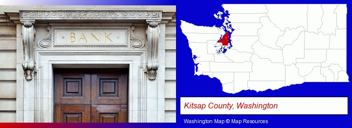 a bank building; Kitsap County, Washington highlighted in red on a map
