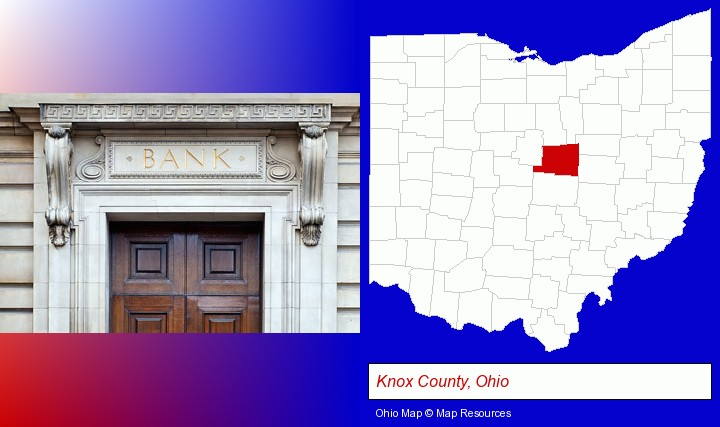 a bank building; Knox County, Ohio highlighted in red on a map
