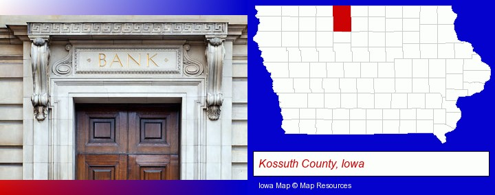 a bank building; Kossuth County, Iowa highlighted in red on a map