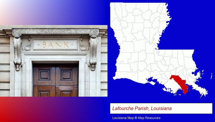 a bank building; Lafourche Parish, Louisiana highlighted in red on a map