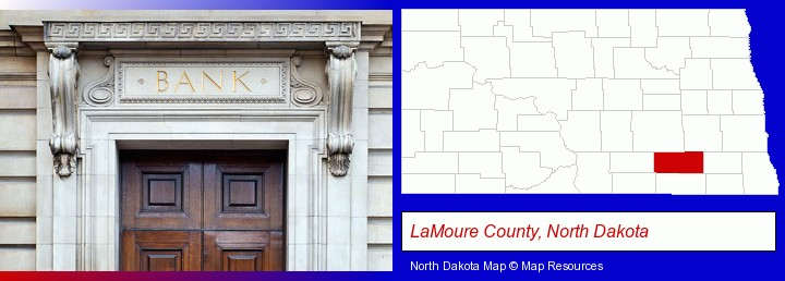 a bank building; LaMoure County, North Dakota highlighted in red on a map