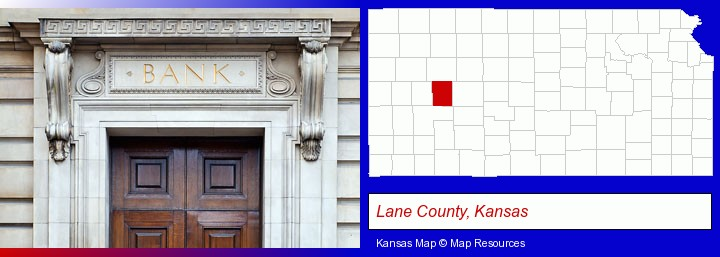 a bank building; Lane County, Kansas highlighted in red on a map