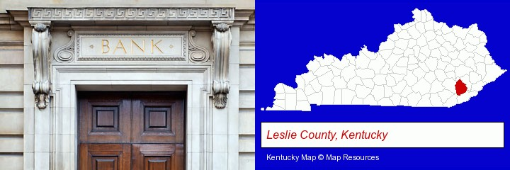 a bank building; Leslie County, Kentucky highlighted in red on a map