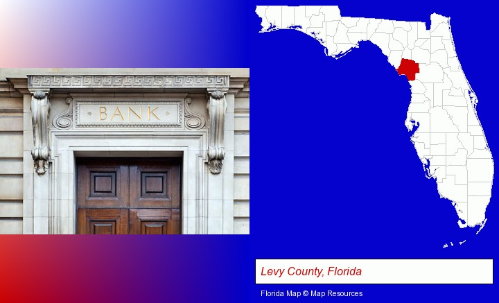 a bank building; Levy County, Florida highlighted in red on a map