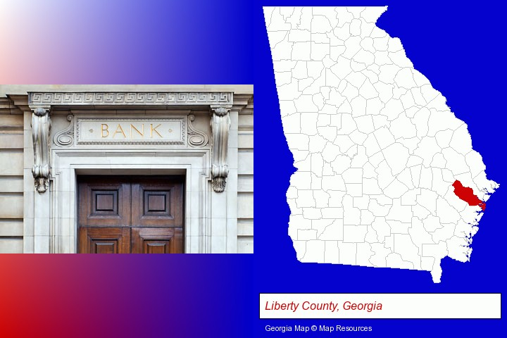 a bank building; Liberty County, Georgia highlighted in red on a map