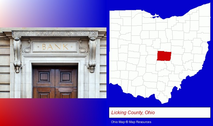 a bank building; Licking County, Ohio highlighted in red on a map
