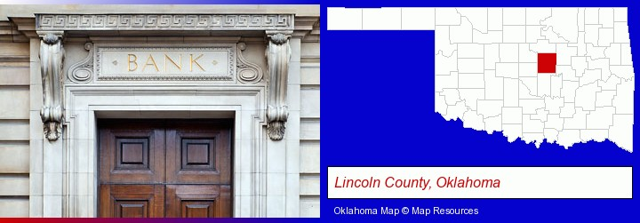 a bank building; Lincoln County, Oklahoma highlighted in red on a map