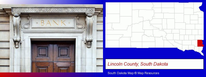 a bank building; Lincoln County, South Dakota highlighted in red on a map