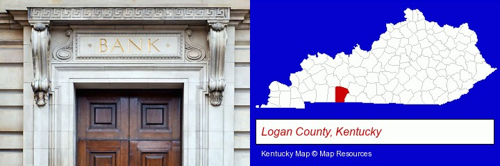 a bank building; Logan County, Kentucky highlighted in red on a map