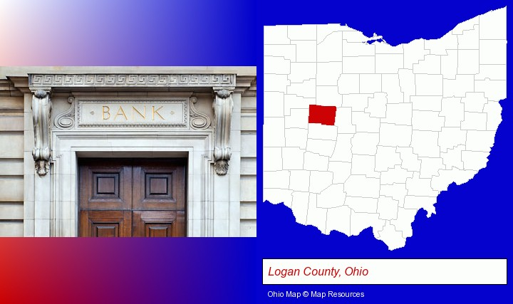 a bank building; Logan County, Ohio highlighted in red on a map