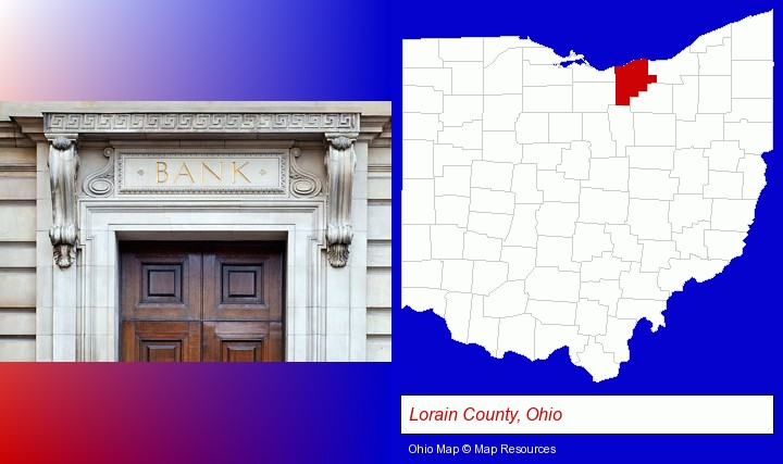 a bank building; Lorain County, Ohio highlighted in red on a map