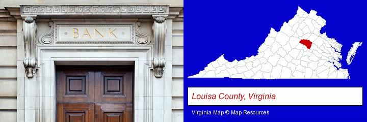 a bank building; Louisa County, Virginia highlighted in red on a map