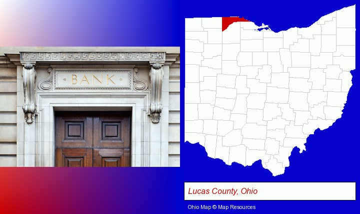 a bank building; Lucas County, Ohio highlighted in red on a map