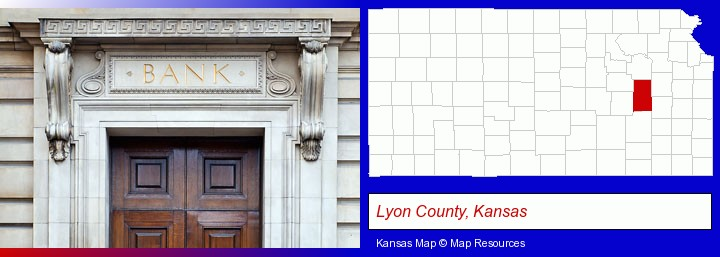 a bank building; Lyon County, Kansas highlighted in red on a map