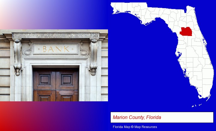 a bank building; Marion County, Florida highlighted in red on a map